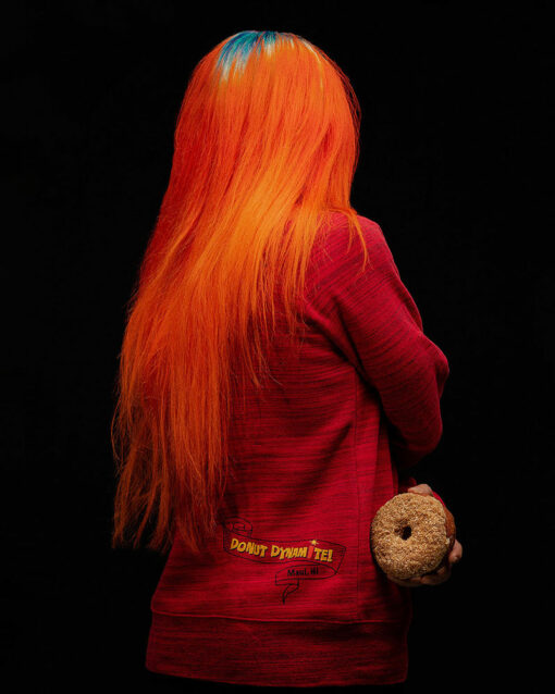 red donut sweater