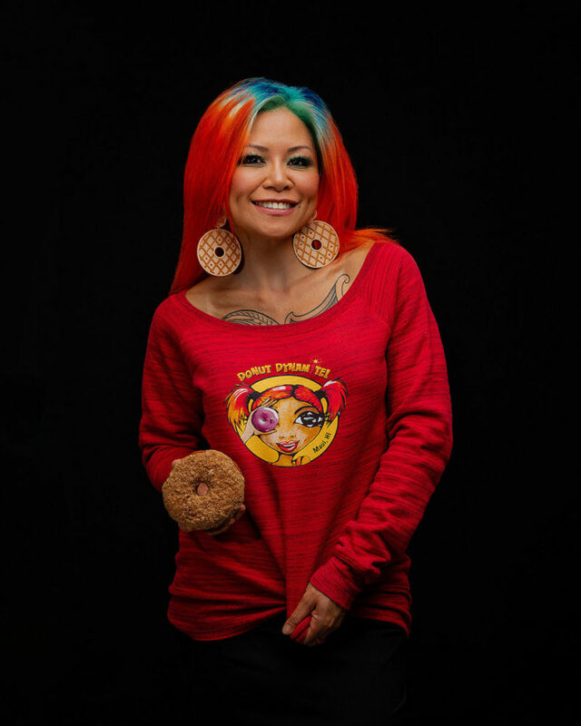 soft red donut sweater