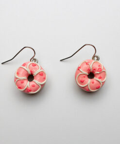 Strawberry Rose Donut Earrings