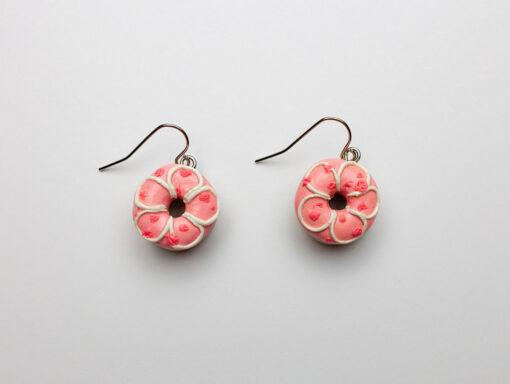Strawberry Rose Donut Earrings